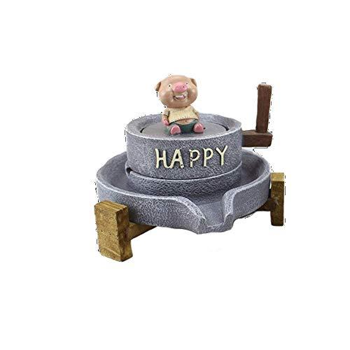 ZXL Asbak steen molen varken asbak, hars expressie varken creativiteit geschikt voor sieraden/Huis/Decoraties/Geschenken/Mannen/Vrouwen (Kleur: Grijs-14x12CM)