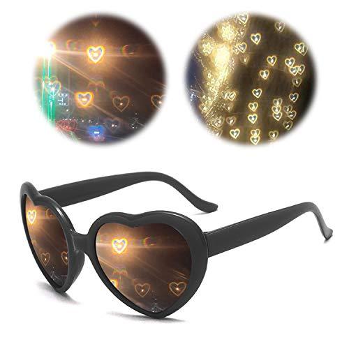 3D Brille Beugungsbrille mit Herz-Effekt,Herzen Feuerwerk Beugung Brille Spezialeffekt Licht, Pfirsich Herzförmiges Licht in Liebe Spezial Effekt Brille, Herzförmige Kaleidoskop Brille Für Musik