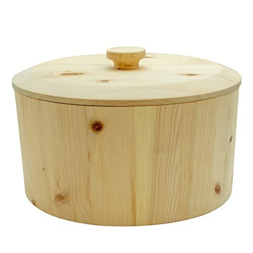 4betterdays.com NATURlich leben! Hochwertiger runder Brotkasten aus massivem Zirbenholz - Brotdose mit abnehmbarem Deckel 34,3 x 34,3 x 21,6 cm (LxBxH)