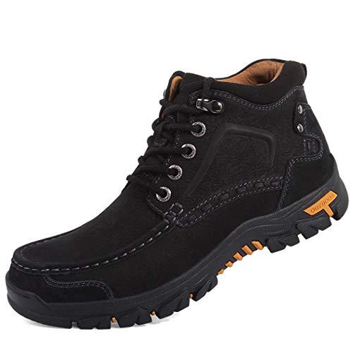 Hombre Deporte Trekking Zapatos Cordones Botines Cuero Trail Running Zapatos Cómodos Resistentes al Desgaste Zapatillas de Montaña 38-47 EU