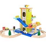 MAJOZ0 Aparcamiento de madera, garaje con 4 minicoches deportivos, garaje de madera, juguete, regalo para niños