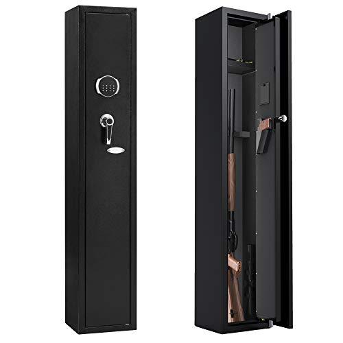 ZONLESON Gun Safe, Rifle Safe 4 Gun Storage Cabinet(4 Rifle and 1 Pistol) with Digital Keypad Lock,Quick Access Electronic Firearm Gun Security Cabinet,Black