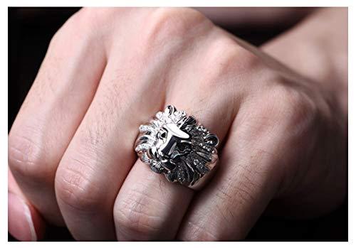 RXSHOUSH Anillo para hombre, plata S925, Rey León, para hombres y mujeres, anillo de compromiso para novio o regalo de recuerdo, 15#