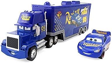Pixar Cars Lightning McQueen The King Chick Hicks Jackson Storm Mack Trucks Hauler & Racer Metal 1:55 Loose Boy Toy Cars (Cars 3 Fabulous McQueen+Mack)