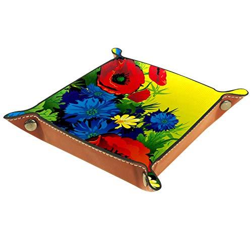 MUMIMI Schmucktablett für Damen, Mädchen, Leder, quadratisch, Indigo-Feuerwerk-Muster, Geschenk zum Muttertag oder Geburtstag, Leder, Farbe4, 20.5x20.5cm