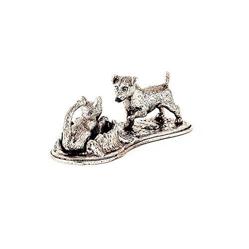 Jack Russell Terrier e Gatto Made in UK, Collezione Statuetta Artistici Stile Cani