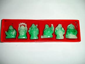 Hong Tze Collection-Set Of Six Mini Jade Color Buddha