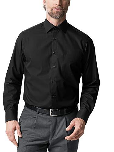 Walbusch Herren Hemd Bügelfrei Kent Kragen einfarbig Schwarz 44 - Langarm