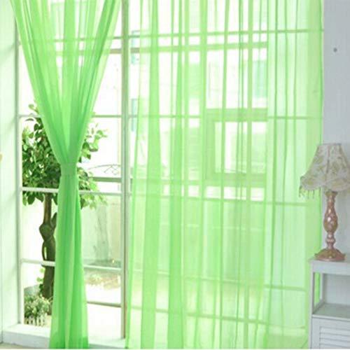 RoxTop Arbeiten Sie einfache Fest Farbe Tulle Tür-Fenster-Vorhang Waschbar Drape-Panel Sheer Schal Valances transparentes Design Frucht grün