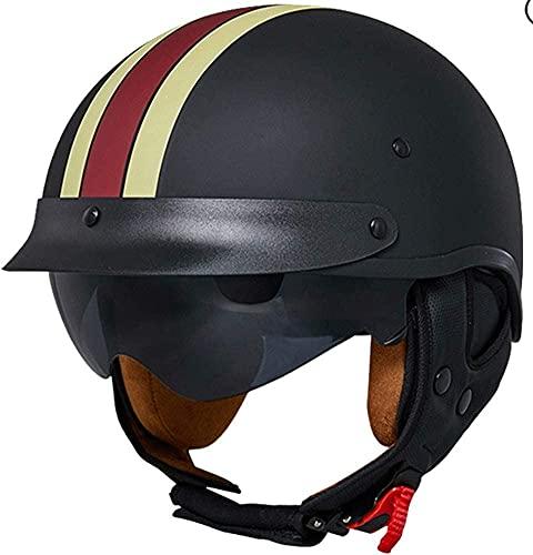 STRTG Retro Motorrad Halbhelme Brain-Cap · Halbschale Jet-Helm Scooter-Helm Mofa-Helm Retro Motorrad Half Helm Mit Built-In Visier FüR Cruiser Chopper Biker ECE-Zertifizierung A,XL: 58-62cm
