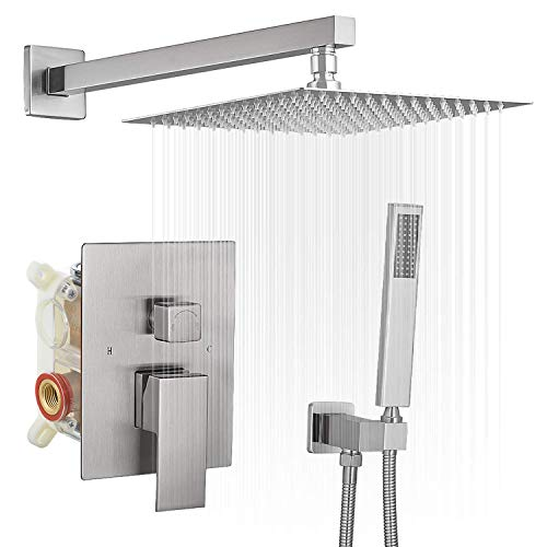BWE 12 Inch Square Shower Head System 2-Functions Bathroom Luxury Rain Mixer Shower Combo Set Wall Mounted Rainfall...