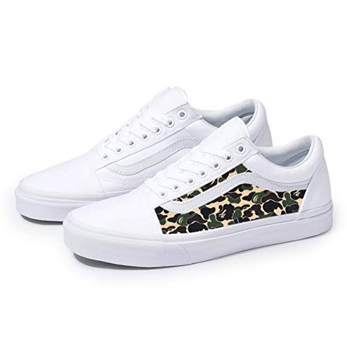 White Old Skool x Bape Custom Handmade Uni-Sex Shoes By Patch Collection