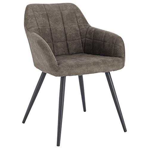 WOLTU® Esszimmerstuhl BH224gr-1 1 Stück Küchenstuhl Polsterstuhl Wohnzimmerstuhl Sessel mit Armlehne, Sitzfläche aus Stoffbezug, Metallbeine