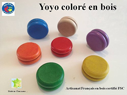 Lot de 2 Yoyos en Bois colorés de 55 mm, Artisanat français, Plusieurs Coloris Disponibles
