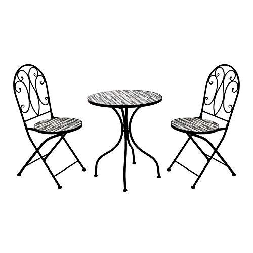 Dekoratives Mosaik Set 3-teilig Sitzgarnitur Mosaiktisch + 2 Mosaikstühle Sitzgruppe Gartentisch Gartenmöbel Bistrotisch Steinoptik