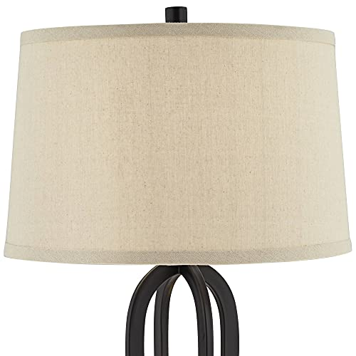 Marcel Modern Industrial Table Lamps Set of 2 with Nightlight LED USB Port Black Linen Shade for Living Room Bedroom - 360 Lighting
