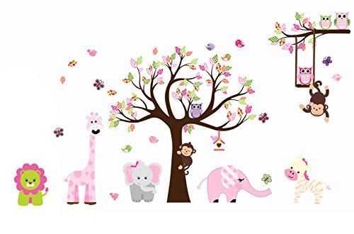 Nette Zoo Animal Wandaufkleber mit Affe Spielen auf Baum-Zweig mit Zebra, Löwe, Elefant Giraffe und Owl Nursery Wandtattoo