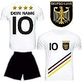 DE FANSHOP Deutschland Trikot mit Hose & GRATIS Wunschname + Nummer #D13 2021 2022 EM/WM Weiss -...
