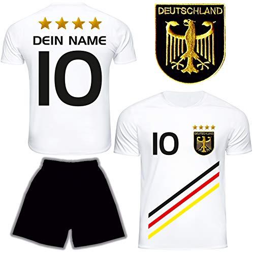 DE FANSHOP Deutschland Trikot mit Hose & GRATIS Wunschname + Nummer #D13 2021 2022 EM/WM Weiss - Geschenk für Kinder Jungen Baby Basketball T-Shirt personalisiert