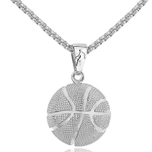 VBNMG Herrenhalskette Gold 3D Basketball Halskette Silber Sport Anhänger Hip Hop Street Schmuck Homme Edelstahl Kette Für Männliche Vatertagsgeschenke