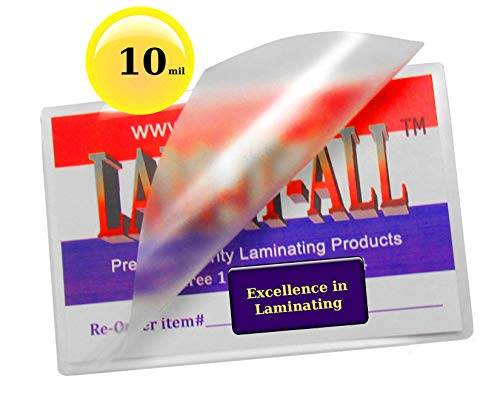 10 Mil Key Card Laminating Pouches 2-1/2 X 3-7/8 Laminator Sleeves [Pk of 100] by LAM-IT-ALL