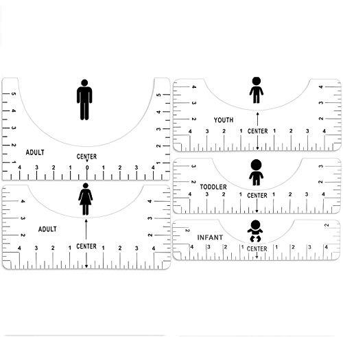 Portátiles Guía de Reglas de Camisetas, 5 Piezas Herramienta de Alineación de Camisetas, Regla de Calibración de Camisetas, Diseños de Alta Precisión Regla de Cuello Redondo, Transparente