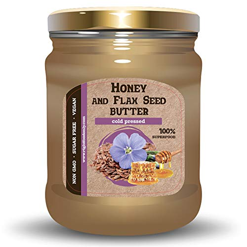 Flax Seed Butter with Buckwheat Honey 8oz (230g) - No Added Sugar - No Dyes - 100% Natural Cold Pressed Flaxseed
