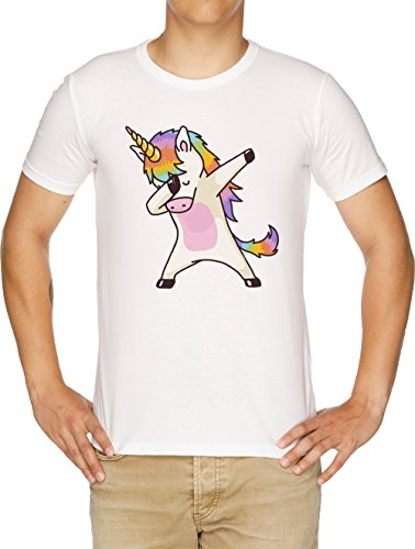 taponando Unicornio Camisa Cadera Salto Salto Pose Camiseta Hombre Blanco