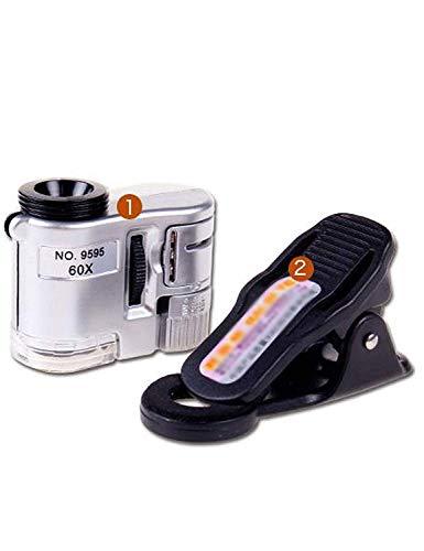 Carl Artbay Personal Aids AI LI WEI lupa 60x mini com luz LED microscópio para celular, tipo clipe universal, usado para identificar joias, diamantes, antiguidades, cédulas, Wenwan, etc. Lupa