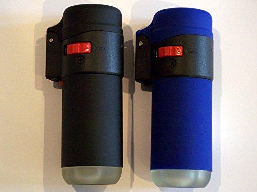 2er Set Zenga ZL1 Düsen Flammen Zigarettenanzünder gummiert Wind dicht Hoch Temperatur 1000-1.300 °C schwarz und blau