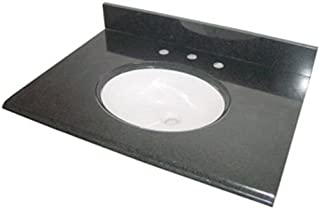 Pegasus PE49684 49-Inch Granite Vanity Top with White Bowl and 8-Inch Spread, Black