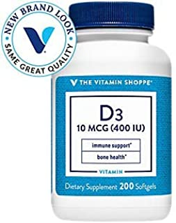 Vitamin D3 400IU Softgel, Supports Bone Immune Health, Aids in Cellular Growth Calcium Absorption, Gluten Free Once Daily ...