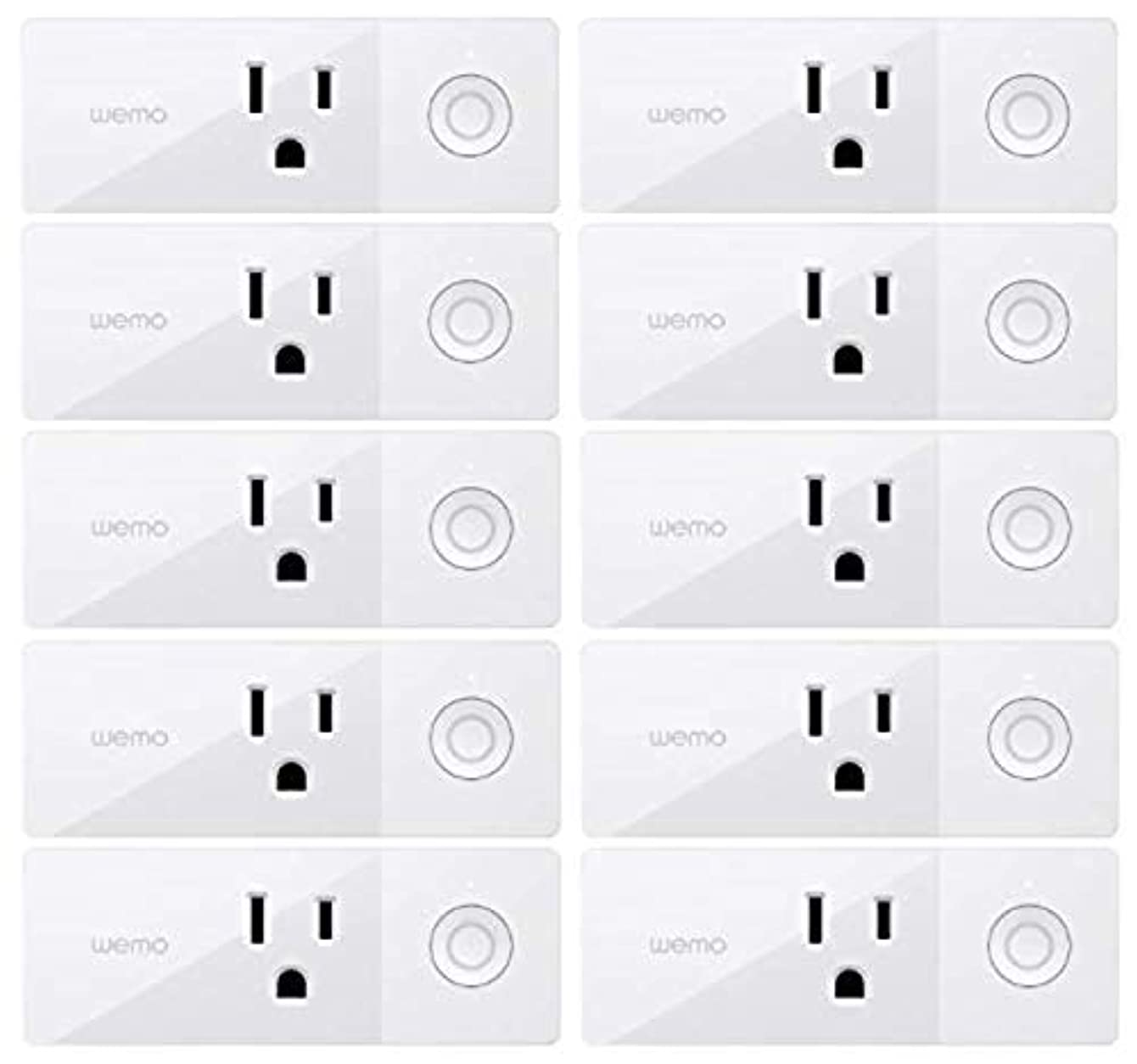 Wemo Mini Smart Plug, Wi-Fi Enabled, Compatible with Alexa (F7C063-RM2) (10 pack) (Renewed)