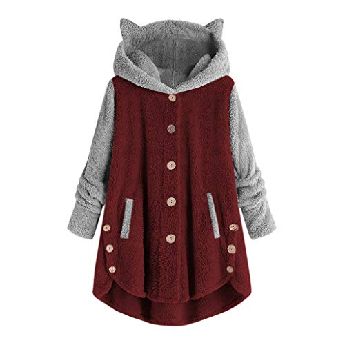 aihihe Women's Long Sleeve Cat Ear Hoodies Pullover Hoodie Fleece Color Block Button Hooded Sweatshirt Warm Winter Wine
