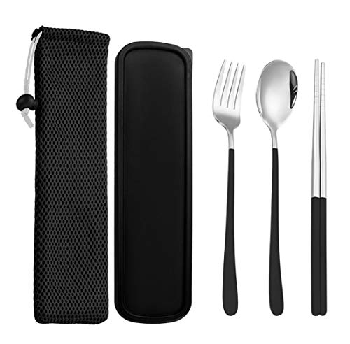 Portable Flatware Set With Case,Homyeet Stainless Steel Utensils Silverware Set With Fork Spoon and Chopsticks,Portable Cutlery Set for Office and Travel-Black
