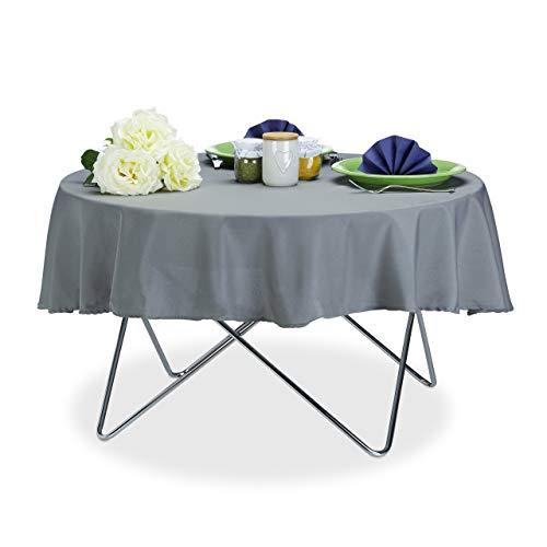 Relaxdays Tischdecke wasserabweisend, pflegeleicht, Polyester-Tischtuch, bügelfest, Gartentischdecke rund D: 140cm, grau