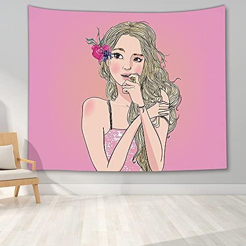 KHKJ Beauty Girl Tapiz Colgante de Pared Decoración para el hogar Tapiz Arte de la Pared Manta para habitación de niña Adolescente Dormitorio College Dorm Decor A3 95x73cm