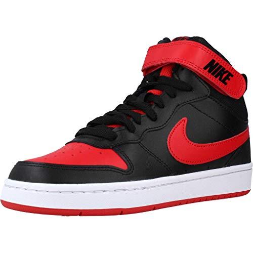 Nike Court Borough Mid 2 (GS), Scarpe da Basket, Black/Univ Red-White, 36.5 EU