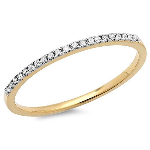 Dazzlingrock Collection 0.08 Carat (ctw) 10K Round White Diamond Ladies Anniversary Wedding Band, Yellow Gold, Size 7