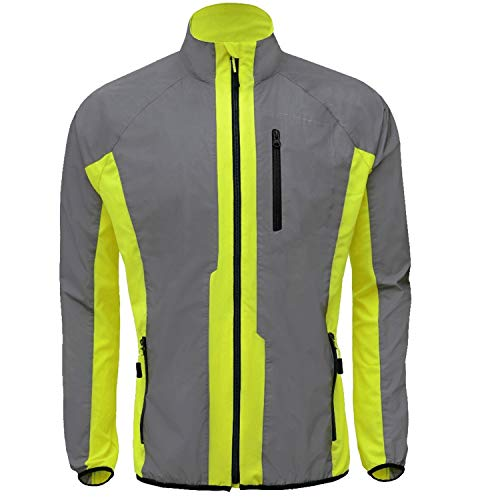 DFTD High Visibility (Hi Viz) Breathable Reflective Cycling Jacket & Running Sport Jacket Men Lightweight(X-Large, Yellow)