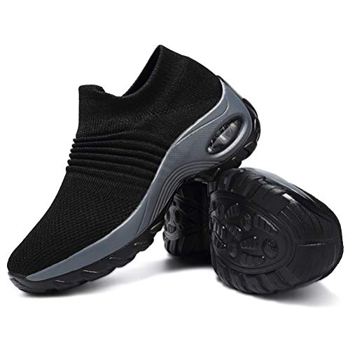 HAOSHIDUO Zapatillas de Tenis para Mujer Ligeras cómodas de Malla sin Cordones Negro 10 US