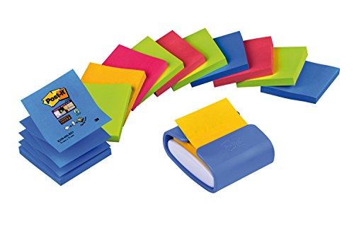 Post-it - Dispensador Pro, color violeta y 12 blocs Z-Notas Super Sticky Río y Bangkok