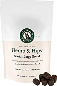 Veterinary Naturals - Hemp & Hips - Senior Large Breed - Organic Hip and Joint Supplement - Savory Flavors - Supports Relief from Hip and Joint Pain in Large, Aging Dogs
