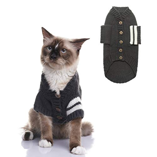 EXPAWLORER Cat Sweater for Cold Weather - Grey Knitted Outerwear Soft Pet Clothes Winter Outfit for Cat, Small