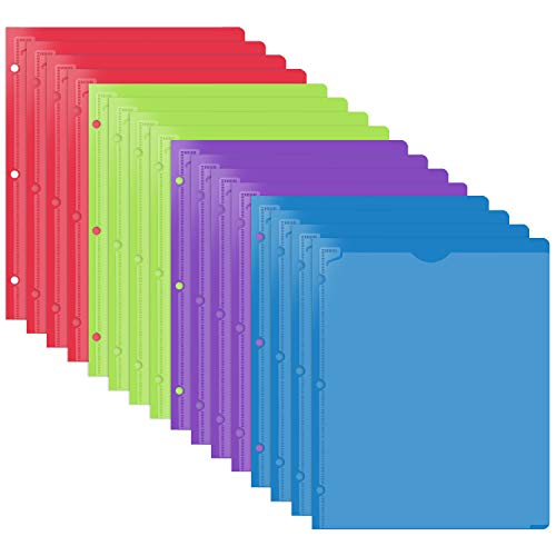 JISUSU Plastic Folders with Clear Front Pocket - 16 Pack ,4 Assorted Colors Plastic Folders with 2 Pockets with 3 Hole and Business Card Slot , Keeps Letter Size Paper for School, Home, and Work