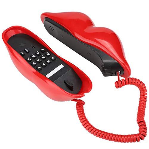 Teléfono de Oficina, Multifuncional Forma de Labios Linda Calidad de Sonido Cear Teléfono de casa Teléfono Fijo Decoración del hogar para Celebraciones navideñas Cumpleaños Día de San Valentín(Rojo)