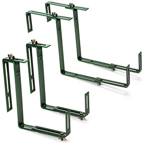 com-four® 4X Blumenkastenhalter für Brüstungen und Balkon-Geländer - Blumenkasten Halterung universal passend und verstellbar - kein Bohren notwendig (4 Stück - grün)