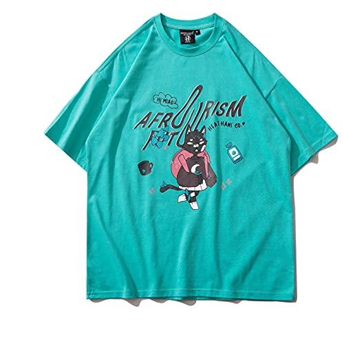 WYLYSD Camiseta De Dibujos Animados Streetwear para Hombre Camiseta De Pareja De Gran Tamaño con Estampado De Algodón Cuello Redondo Manga Corta