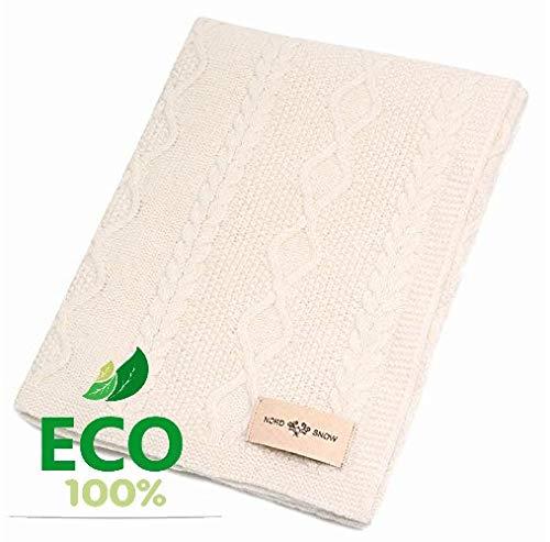 100% Merino Wolle Decke von gestrickt NordSnow antiallergische und sehr weich, Made in Europe 80x100cm Ecru