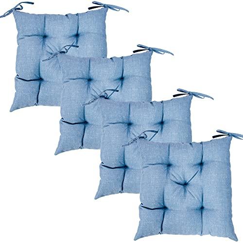 Viste Tu Hogar Pack 4 Cojines para Silla, 45X45 CM, Relleno de Algodón , Color Liso, Ideal para la Decoración de Cocina y Sala, Color Azul, Fabricado en España